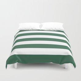 Poker Green - solid color - white stripes pattern Duvet Cover