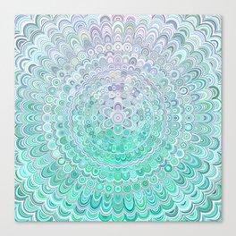 Turquoise Ice Flower Mandala Canvas Print