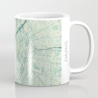 vintage map Mugs featuring Paris Map Blue Vintage by City Art Posters