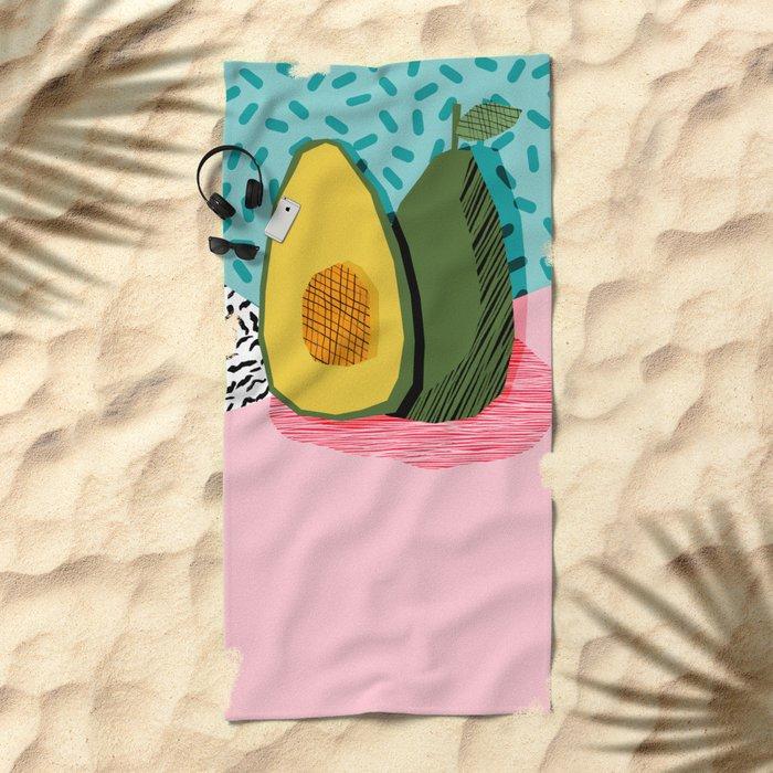 Choice - wacka memphis throwback retro neon fruit avocado vegetable vegan vegetarian art decor Beach Towel