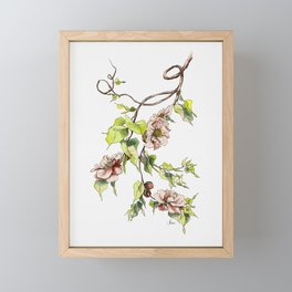Camellia Inspired Flower Branch Framed Mini Art Print