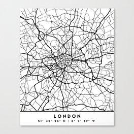 LONDON ENGLAND BLACK CITY STREET MAP ART Canvas Print