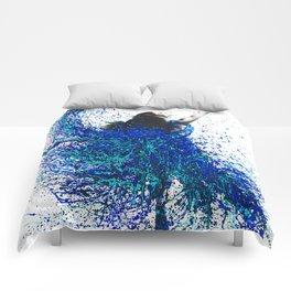 Teal Wave Dance Comforters