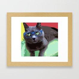 Modern Pop Art, Colorful Funny Cat. Framed Art Print