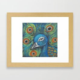 Peacock Head Framed Art Print