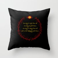 lord of the ring Throw Pillows featuring The Lord Of The Rings - The One Ring by Lunil