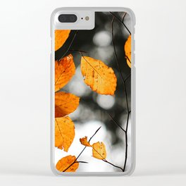 Orange Leafs (Color) Clear iPhone Case