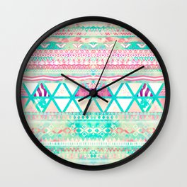 Pink Teal Aztec Pattern Triangles Girly Watercolor Wall Clock