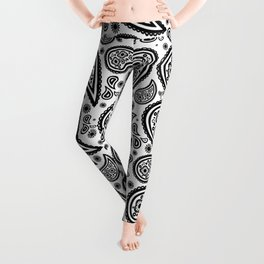 Paisley (Black & White Pattern) Leggings