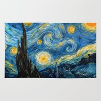 smaug Area & Throw Rugs featuring A Starry Night at Hogwarts by Smaug