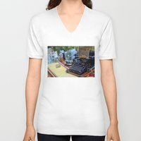 old school V-neck T-shirts featuring Old School by ClaM