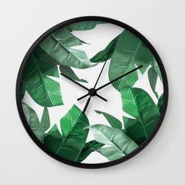 Tropical Palm Print Wall Clock