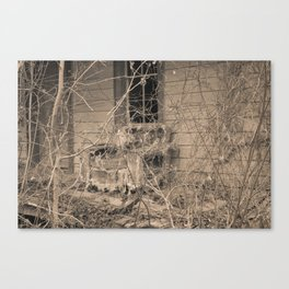 Engulfed House with Vines (Untitled Sepia 4) Canvas Print