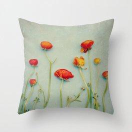 Red Ranunculus Flowers Throw Pillow