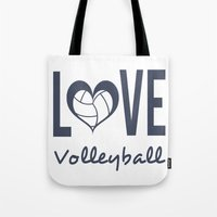 volleyball Tote Bags featuring Love Heart Volleyball (blue) by raineon