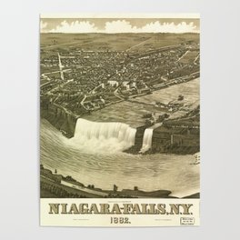NIAGARA FALLS New-York city old map Father Day art print poster Poster