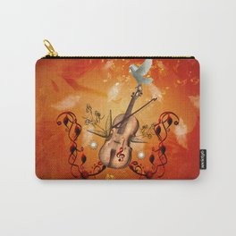 Violin with violin bow and dove Carry-All Pouch