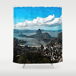 Painting of Rio Sugarloaf  View from Corcovado Mountain Coastline, Brazil Shower Curtain