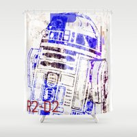 r2d2 Shower Curtains featuring R2D2 by mchlsrr