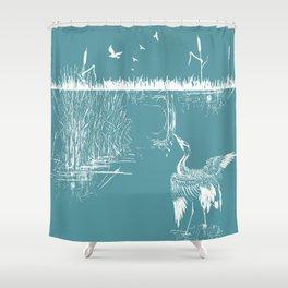 Orienal Exotic Heron & Birds on a Lake Print - Blue Shower Curtain