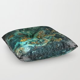 Gold Indigo Malachite Marble Floor Pillow