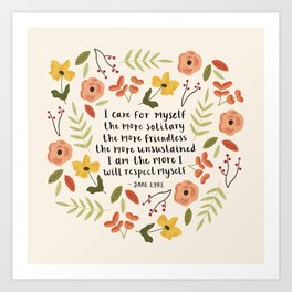 "Jane Eyre ""I Care For Myself"" Quote Art Print"
