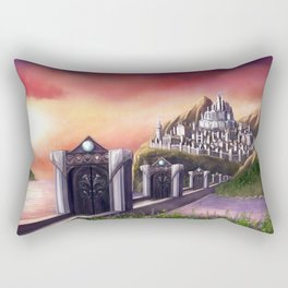 Myrinthor Fantasy Art Print Landscape Painting Mountain Castle Fantasy City Ocean Sunset Rectangular Pillow