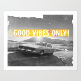 California Route66 Good vibes only yellow Art Print