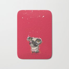 Pug in Christmas time Bath Mat