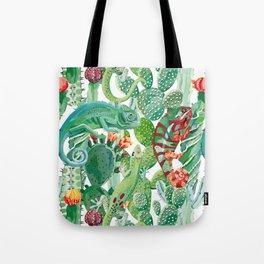 chameleon cacti pattern Tote Bag
