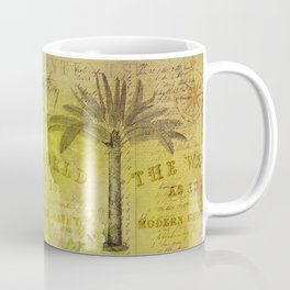 Vintage Journey palmtree typography travel collage Coffee Mug