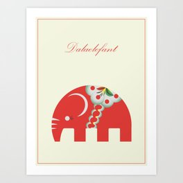 Swedish Elephant Art Print
