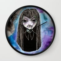 mulder Wall Clocks featuring Mulder, did you see their eyes?  by Leah Jade