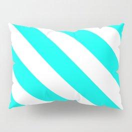 Diagonal Stripes Pattern: Turquoise Pillow Sham