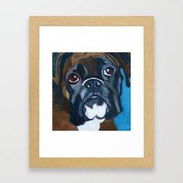 Boxer Lil E Dog Portrait Framed Art Print