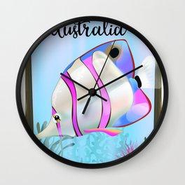 Cairns Australia tropical travel poster Wall Clock