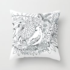 Sketched bird and flowers Throw Pillow
