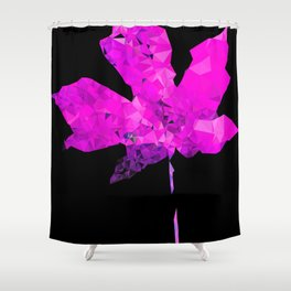 pink geometric polygon maple leaf abstract with black background Shower Curtain