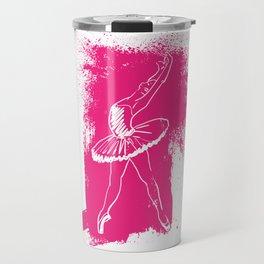 Ballerina Doing a Backbend on a Pink Background Travel Mug