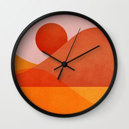 Abstraction_Mountains_SUNSET Wall Clock