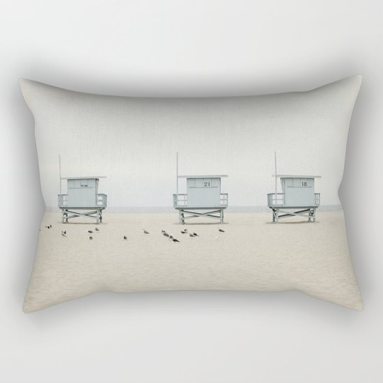Lifeguard Towers with Birds Rectangular Pillow