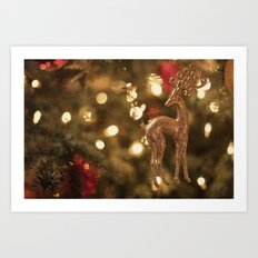 Christmas deer Art Print