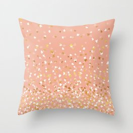 Floating Confetti - Peach and Gold Throw Pillow