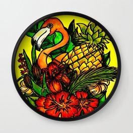 A Created Paradise - Tropical Pineapple Flamingo Wall Clock