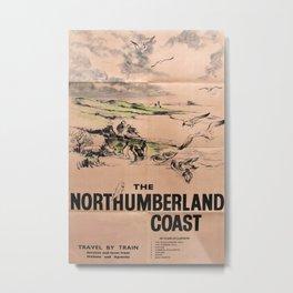 The Northumberland Coast Vintage Travel Poster Metal Print
