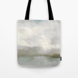 Modern Abstract Painting, Light Teal, Sage Green, Gray Cloudy Weather Digital Prints Wall Art, Ocean Tote Bag