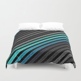 stripeS : Slate Gray Teal Blue Pixels Duvet Cover