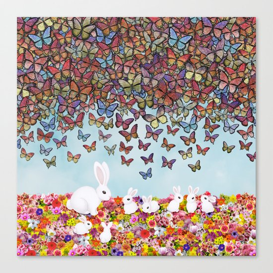 bunnies, flowers, and butterflies Canvas Print