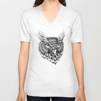 ornate V-neck T-shirts featuring Ornate Owl Head by BIOWORKZ