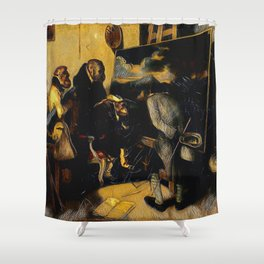 Decamps' The Experts - Der Roj study Shower Curtain